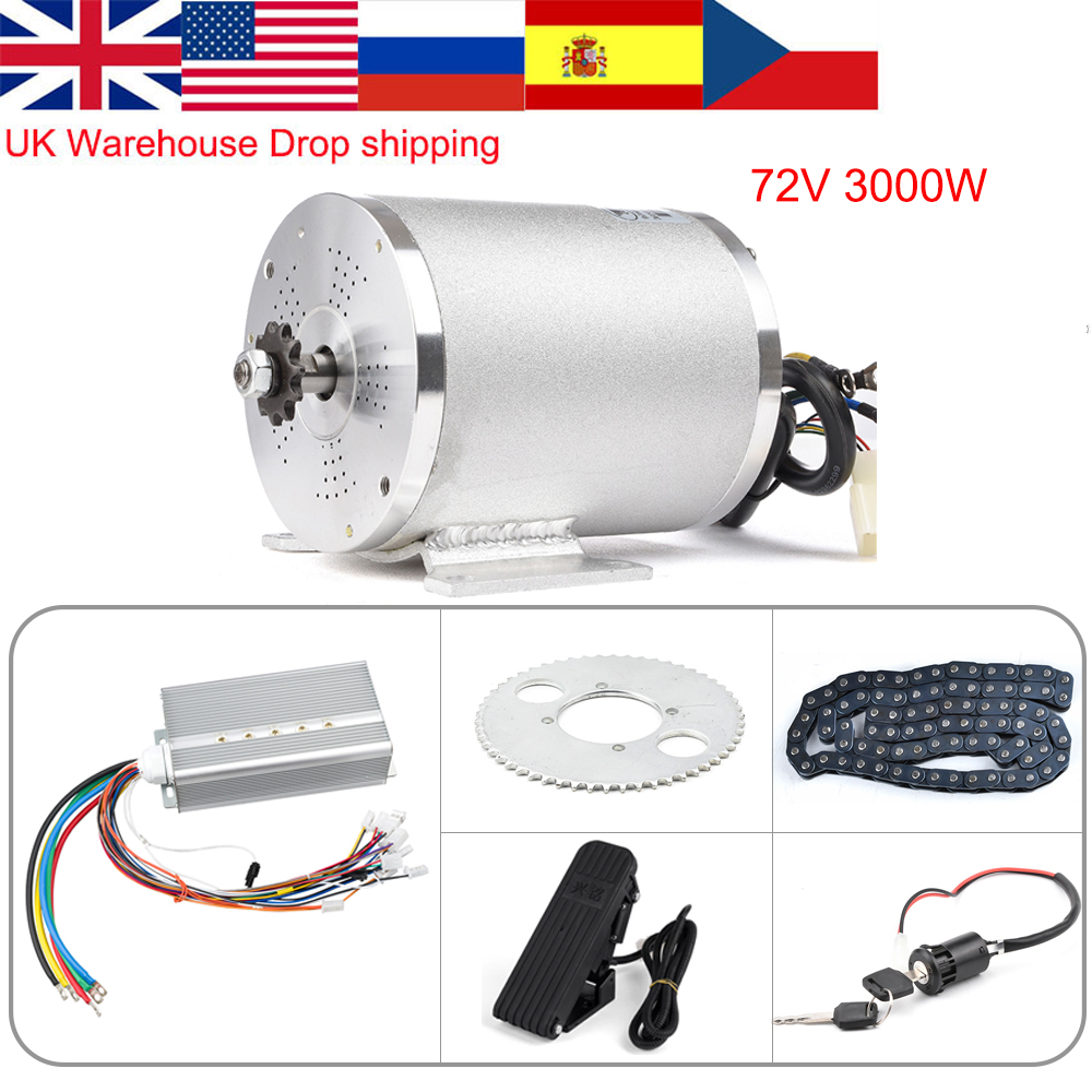 72v 3000w Electric Motor for Bike, Brushless DC Motor for Electric Vehicle, Ebike Conversion Kit With Controller Throttle Parts