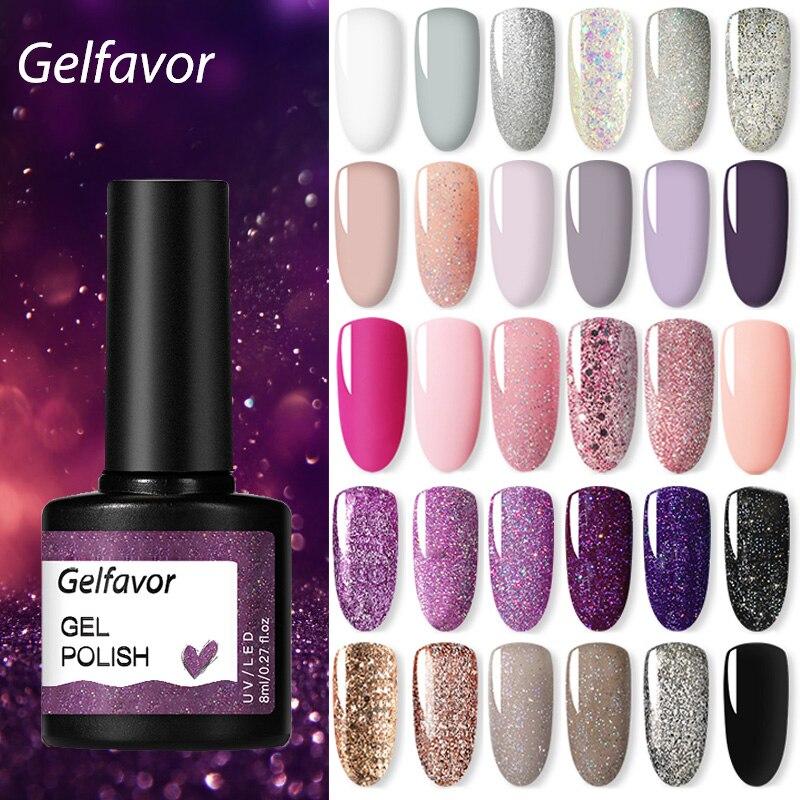 Гель-лак Gelfavor, искусственный Гель-лак, набор для маникюра для ногтевого дизайна, полуплатиновая УФ-светодиодная лампа, одноэтапный Гель-лак ...