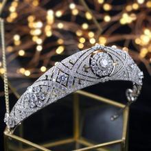Asnora tiara de noiva meghan, coroa de noiva, acessórios de cabelo feminino, joias de zircônia, coroa e tiaras