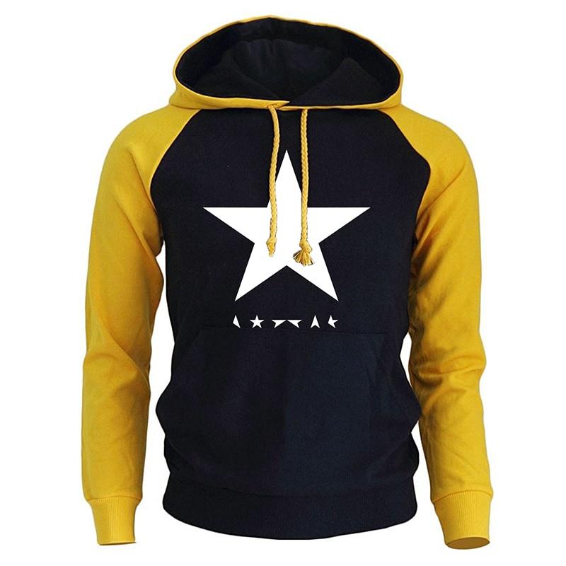 Fashion Hoodie Men 2018 Autumn Fleece Winter Raglan Men's Sweatshirts David Bowie Heroes Black Star Logo Print Harajuku Pullover