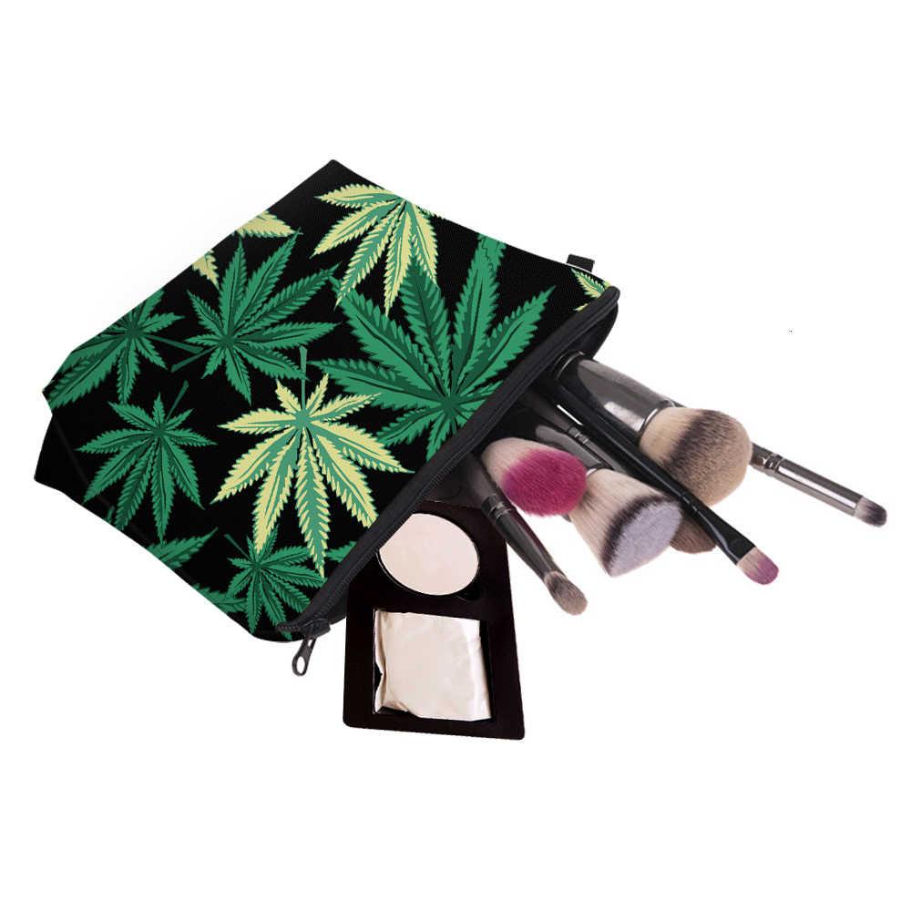 Deanfun Green Printing mała kosmetyczka torebki na makijaż do torebek Black Weed śliczne torebki na makijaż dla kobiet 36945