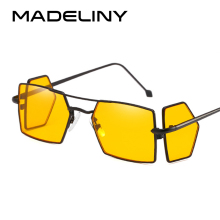 MADELINY Fashion Square Sunglasses Women Brand Design Metal
