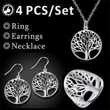4 Piece Set Necklace Ring Earrings Bracelet Round Hollow Wish Tree Wisdom Hanging Silver Jewelry