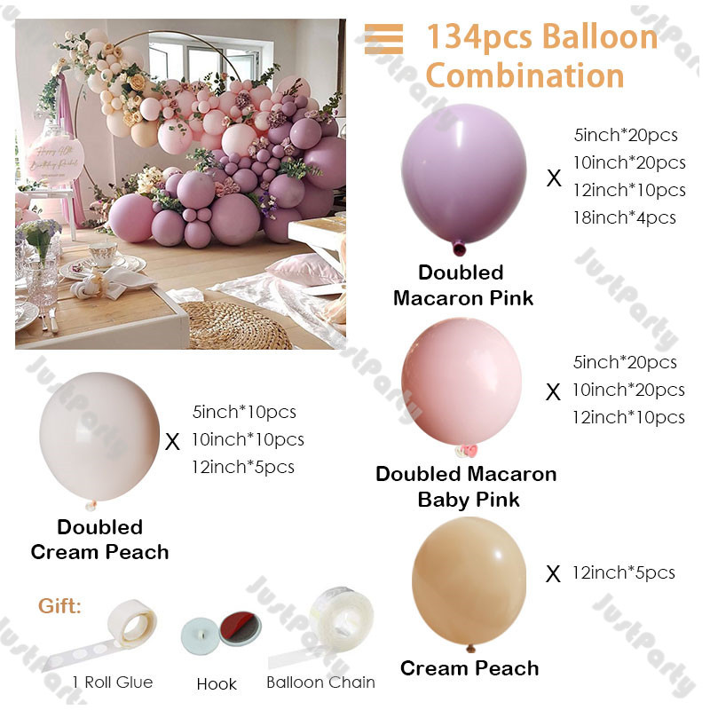 Garland Cream Arch Party Balloons Pink Balloon Nude Decor Decoration Blush DIY Peach 134pcs Kit Wedding Doubled Double Layer