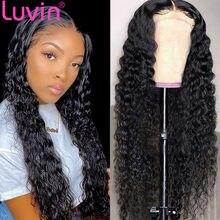 Luvin hd transparente 30 Polegada encaracolado frente perucas de cabelo humano para mulher solta onda profunda 13x6 13x4 peruca frontal do laço 4x4 5x5 peruca de fechamento