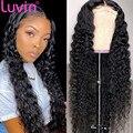 Luvin волосы, глубокие вьющиеся на сетке передний парик, человеческие волосы, парики для черных женщин, Бразильские глубокие волны 13x4, безклее...