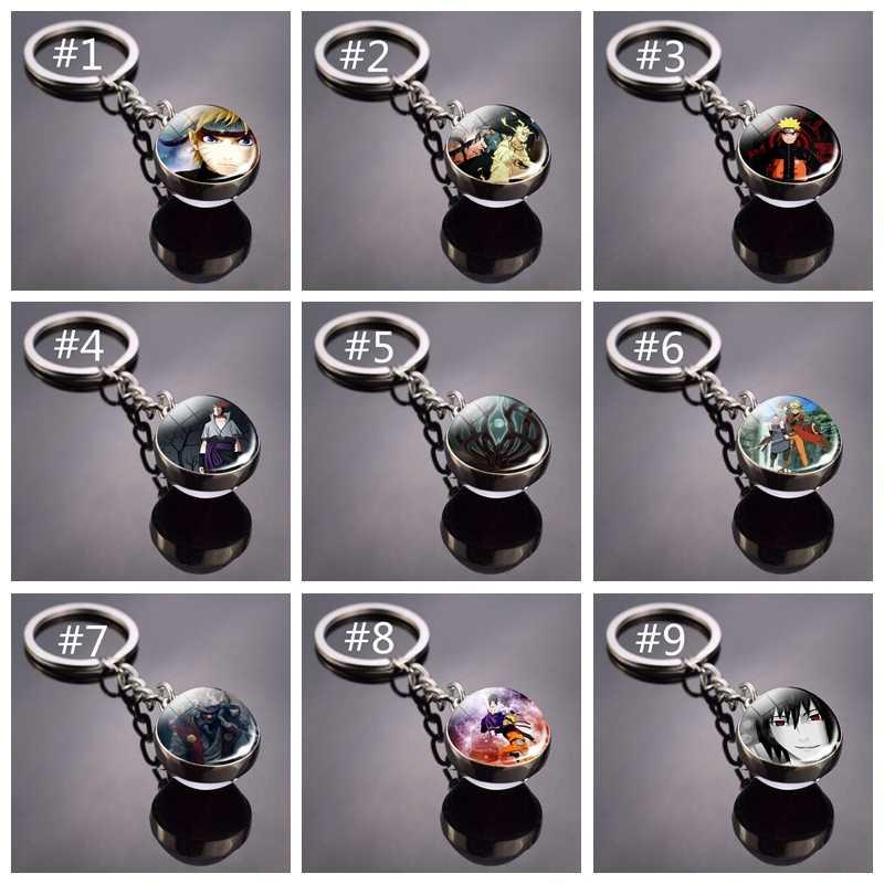 อะนิเมะ Naruto Shippuden Badge พวงกุญแจเงิน Uzumaki Naruto Uchiha Sasuke แก้วโดมสัญลักษณ์แฟชั่นคอสเพลย์ของขวัญ