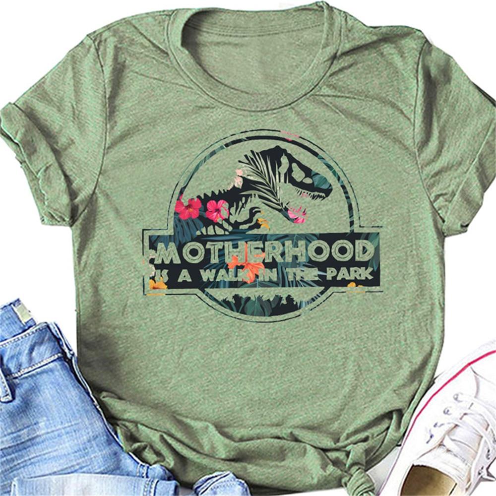 MOTHERHOOD IS A WALK IN THE PARK Letter Harajuku Print Women T shirt Cute Dinosaur Head Graphic Tshirt Female Vintage T-shirt 1