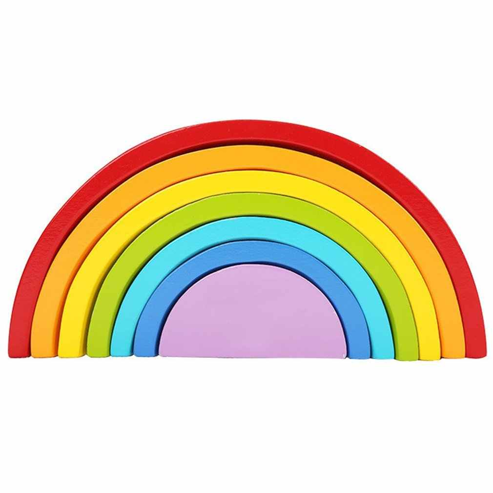 OCDAY 7pcs Eco-friendly Wooden Children Building Blocks Rainbow Toy Baby Early Education Montessori Toy Kids Model Building Toys
