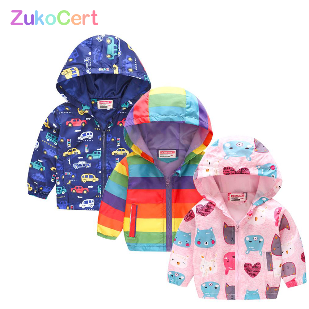 POBIDOBY Kids Hooded Windbreaker Jacket Boy Girl Outwear Reflective Waterproof Raincoat for Children