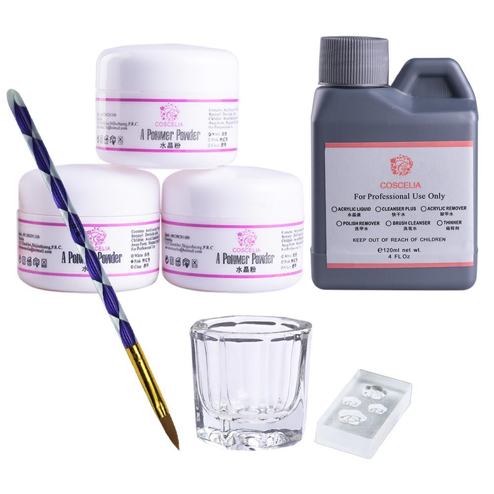 COSCELIA Acrylic Nail Kit Manicure Set Tools For Manicure 75/120ML Acrylic Liquid Set For Nail All For Manicure DIY Tools Brush