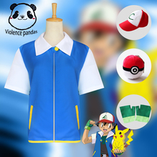 High Quality Pokemon Ash Ketchum Cosplay Costume Blue Jacket + Gloves Hat Costumes Free shipping