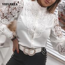 Chemise en dentelle à manches longues pour femmes, col montant, bouton de bureau, broderie de fleurs, automne, Patchwork, haut ajouré
