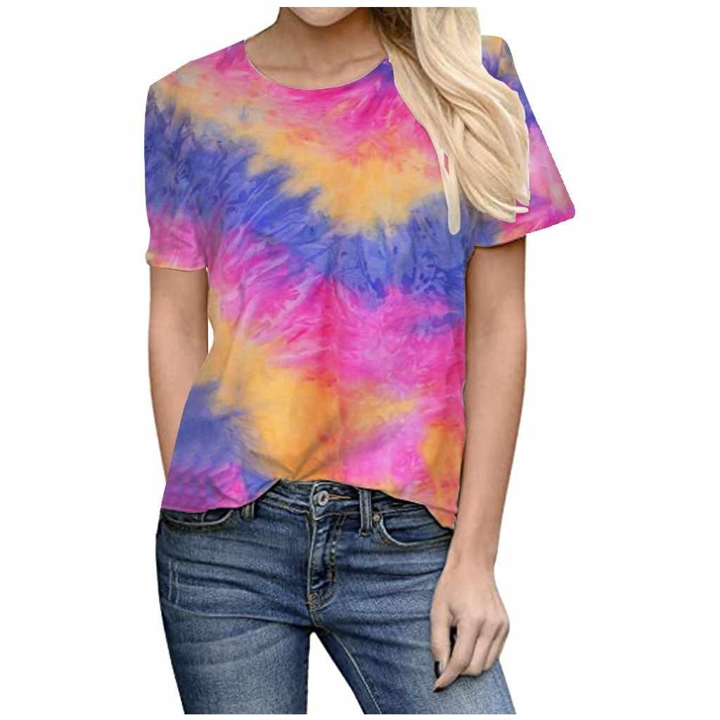 Tie Dye Cetak T Shirt Wanita Tops Tees O-Leher Lengan Pendek Wanita T-shirt Streetwear Kebesaran Wanita Top Kaos Kasual tshirt #4