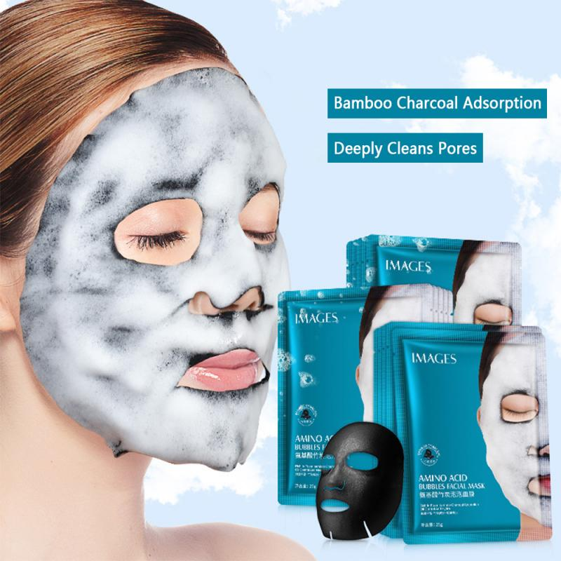 Mask 2PC Amino Acid Bubble Mask Deep Pore Clean Bamboo Charcoal Black Face Mask Whitening Facial Care Treatment Mascarilla TSLM1