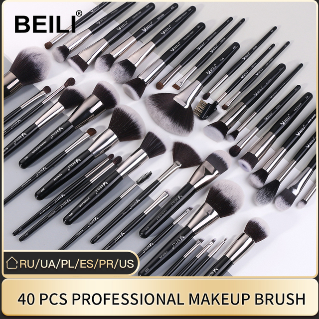BEILI Luxury Black 2-40 pcs Makeup Brushes Set Professional Natural hair Powder Foundation Eyeshadow pinceaux de maquillage 1