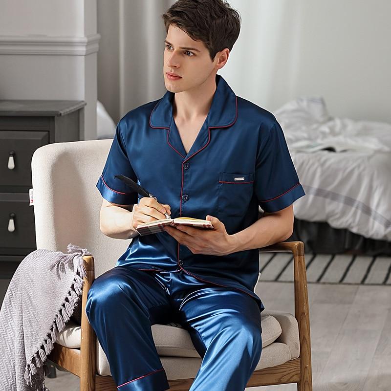 Brand Pajamas Male Satin Silk Sleepwear Men Summer Short Sleeve Pyjama Pants Sets Softness Faux Silk Pijama Sst