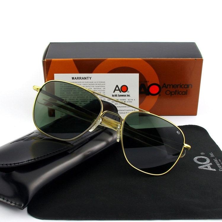 Piloto Óculos De Sol Dos Homens Lente de Vidro Temperado de Alta Qualidade Marca Designer YQ1003 AO Sol Masculino Óculos de Sol Óptica Militar Do Exército Americano