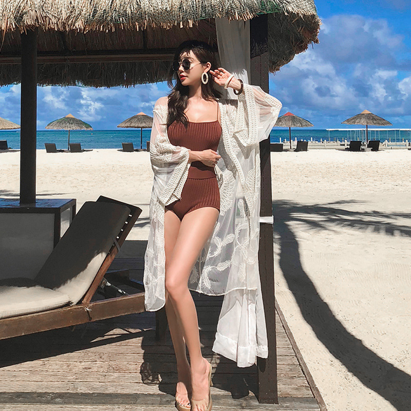 Bikini Cover-up Bathing Suit Outdoor Sunscreen Cardigan Holiday Beach Jacket Large Size Belly Covering Loose-Fit Beach Clothing