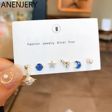 ANENJERY Blue Universe Planet Moon Star Stud Earrings Set Gold Silver Color Pearl Zircon Earring For Girls 6-piece Set S-E1143