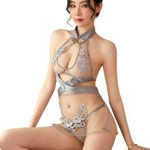 Sexy lingerie erotic woman underwear halter see-through mesh transparent dress temptation embroidery cheongsam porno sex adult