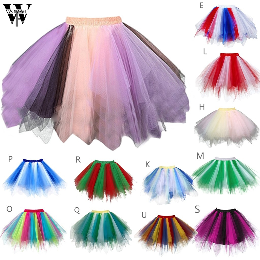 Womail Women Skirt Kawaii Puffy Tulle Skirts Multicolor Gauze Sweet Mini Skirt High Quality Adult Tutu Dancing Skirt Dropship