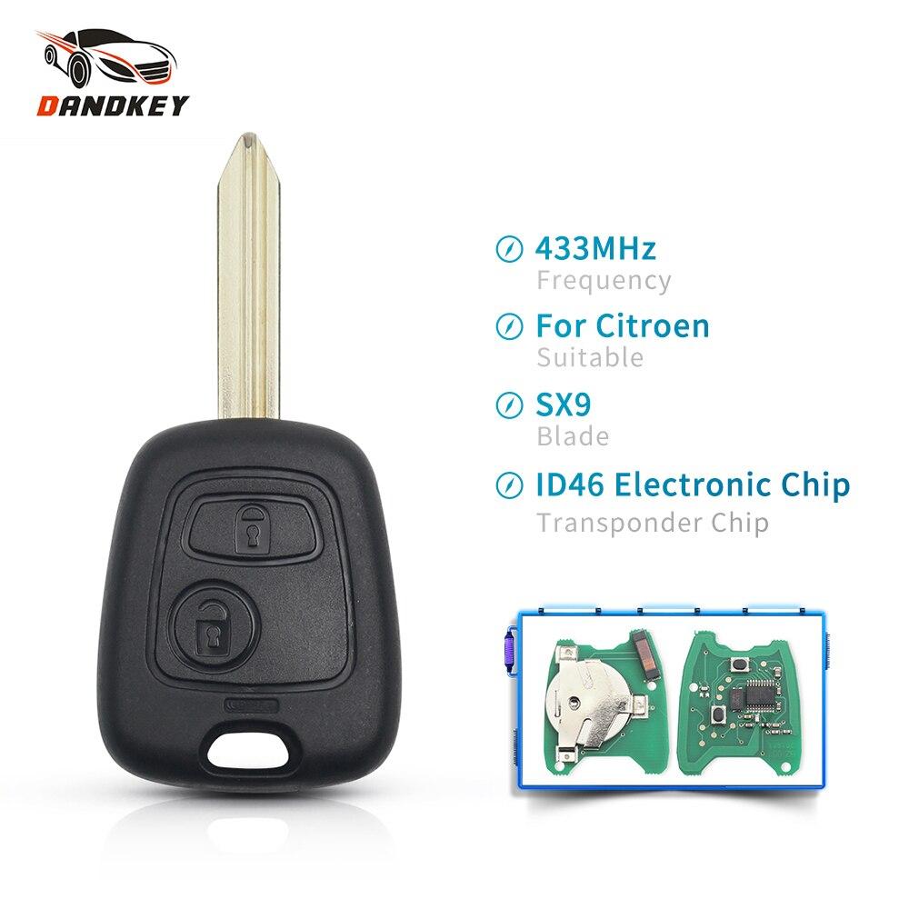 Dandkey Remote Key 2 Button 433 mhz ID46 Elektronische Chip Voor Citroen Xsara Picasso Berlingo 2002 2003 2004 2005 2006 2007 2008