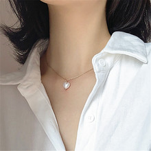 цена на Korean Fashion Heart-shaped Pendant Necklace Girl Clavicle Chain Contracted Joker Heart Pearl Necklace Trendy Gifts for Women
