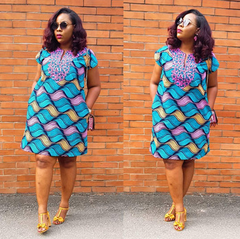 2020 Summer Sexy African Women V-neck Printing Polyester Dress African Dresses for Women African Clothing image
