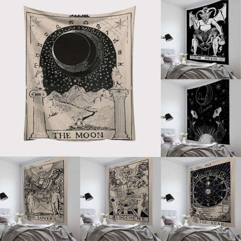 Tarot Card Tapestry Wall Hanging Mat Square Wall Hanging Carpet Throw HOME Mat Rectangle Tapestries