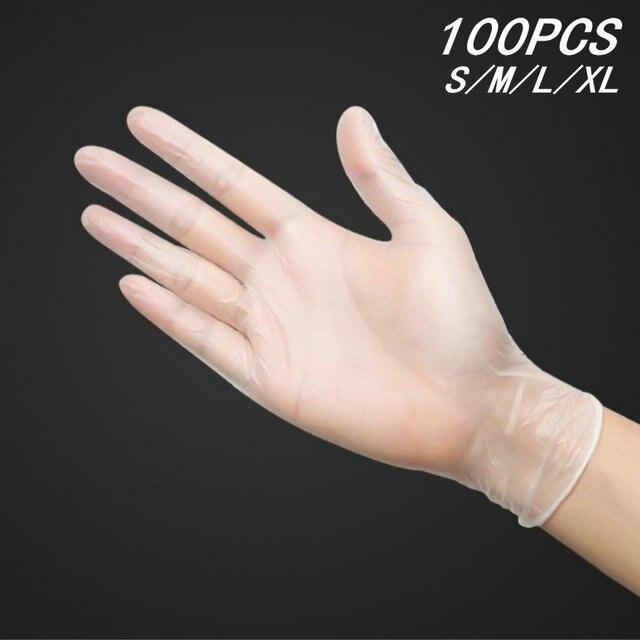 כפפות חד פעמיות PVC מזון כיתה 100PCS אנטי סטטי פלסטיק כפפות עבור מזון ניקוי בישול מסעדה מטבח גודל S M L XL