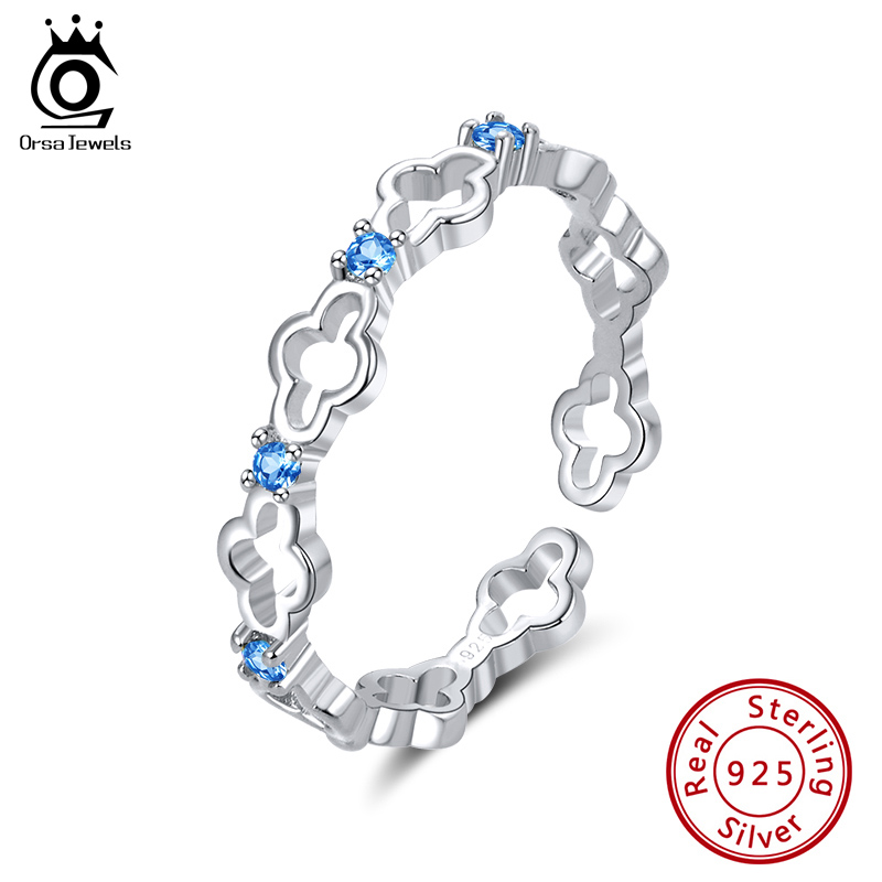 ORSA JEWELS Real 925 Silver Resizable Rings for Women 4 Colors Optional AAAA CZ Stacking Hollow Rings Clover Jewelry SR140Rings   -