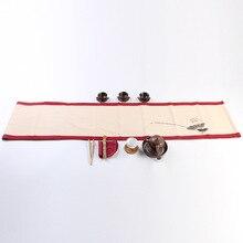 Расписанный вручную Лен дзен чай банкетный стол бегун чайная церемония с нулевым китайский стиль льняная чашка коврик ткань сухой пены сиденье чай флаг