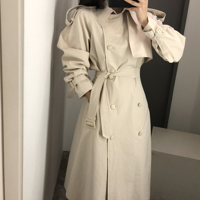 2019 Fashion Hot Sale Temperament Long Loose Women   Trench   Coat New Arrival Solid Color Long Sleeve Warm Female Windbreaker