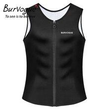 Burvogue Sweat Sauna Body Shaper Men Slimming Vest Thermo Neoprene Waist Trainer Corsets Zipper Shapewear Suits Tank Top