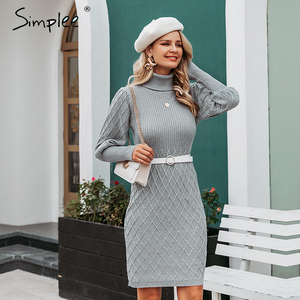 Image 2 - Simplee Turtleneck long cable knitted women pullover sweater dress Vintage autumn winter lantern sleeve female outwear dresses