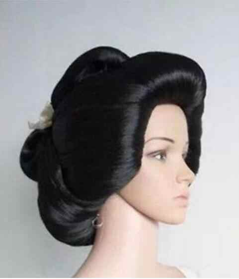 Jewelry Wig New !!! black Japanese Geisha Flaxen Hair Synthetic Daily Cosplay Wig Free Shipping