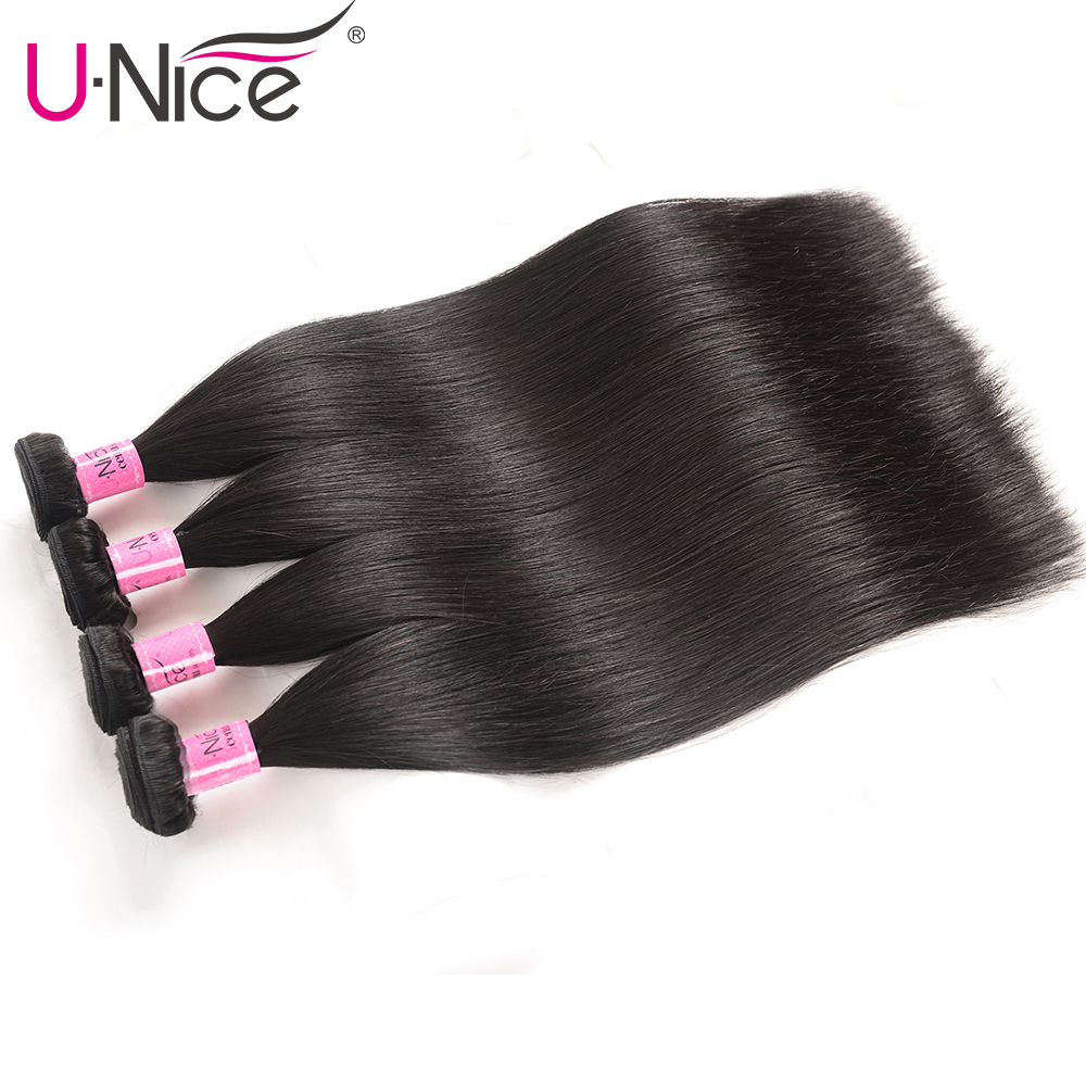 H5ea817fa4cab4a7e9a76258d802614ecT UNice Hair Transparent Lace With Closure 8-30 Malaysian Straight Hair 3 Bundles with Closure Remy Human Hair Extension Bundles