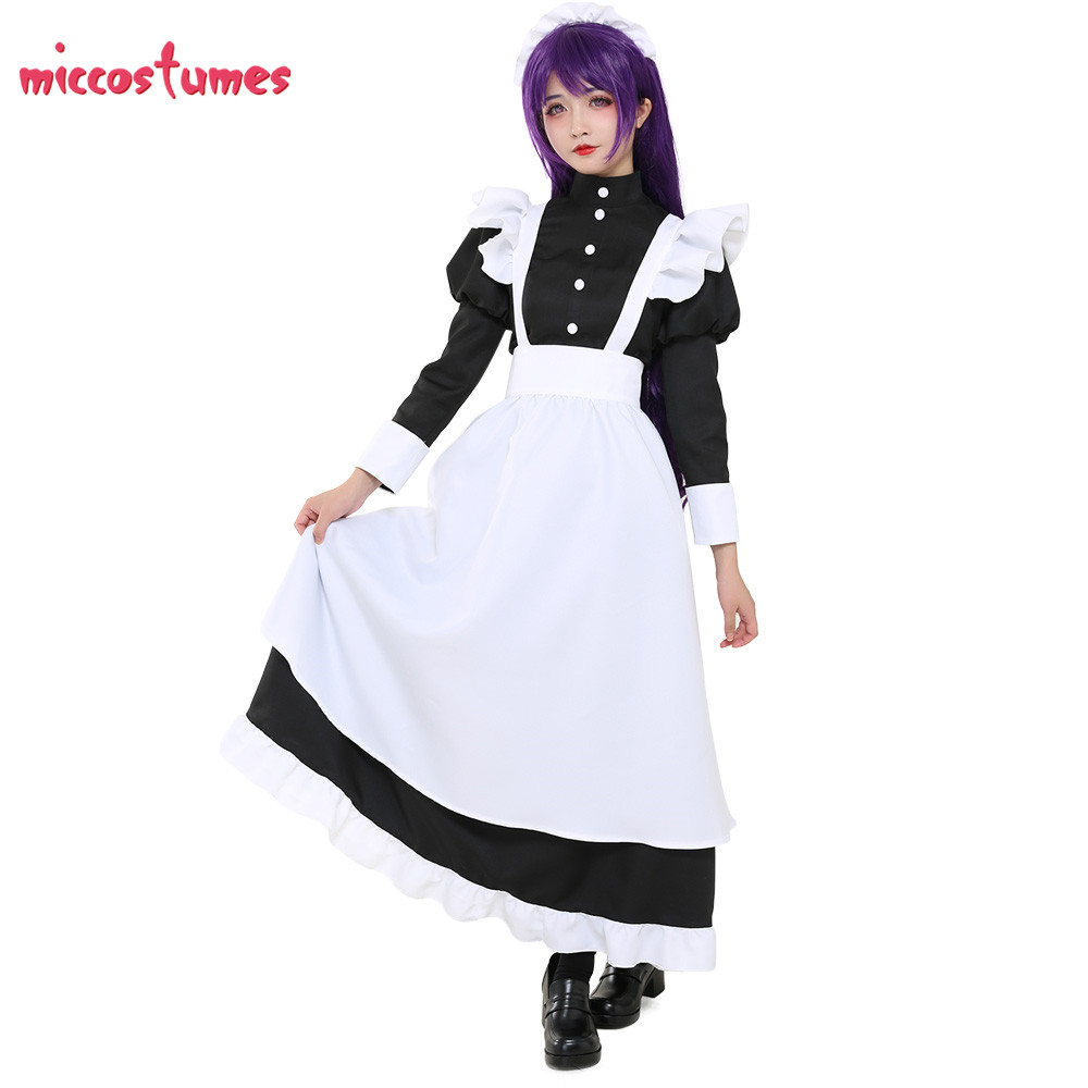 Classic Cute Maid Uniform Woman Long Dress Maid Dress Cosplay Outfit