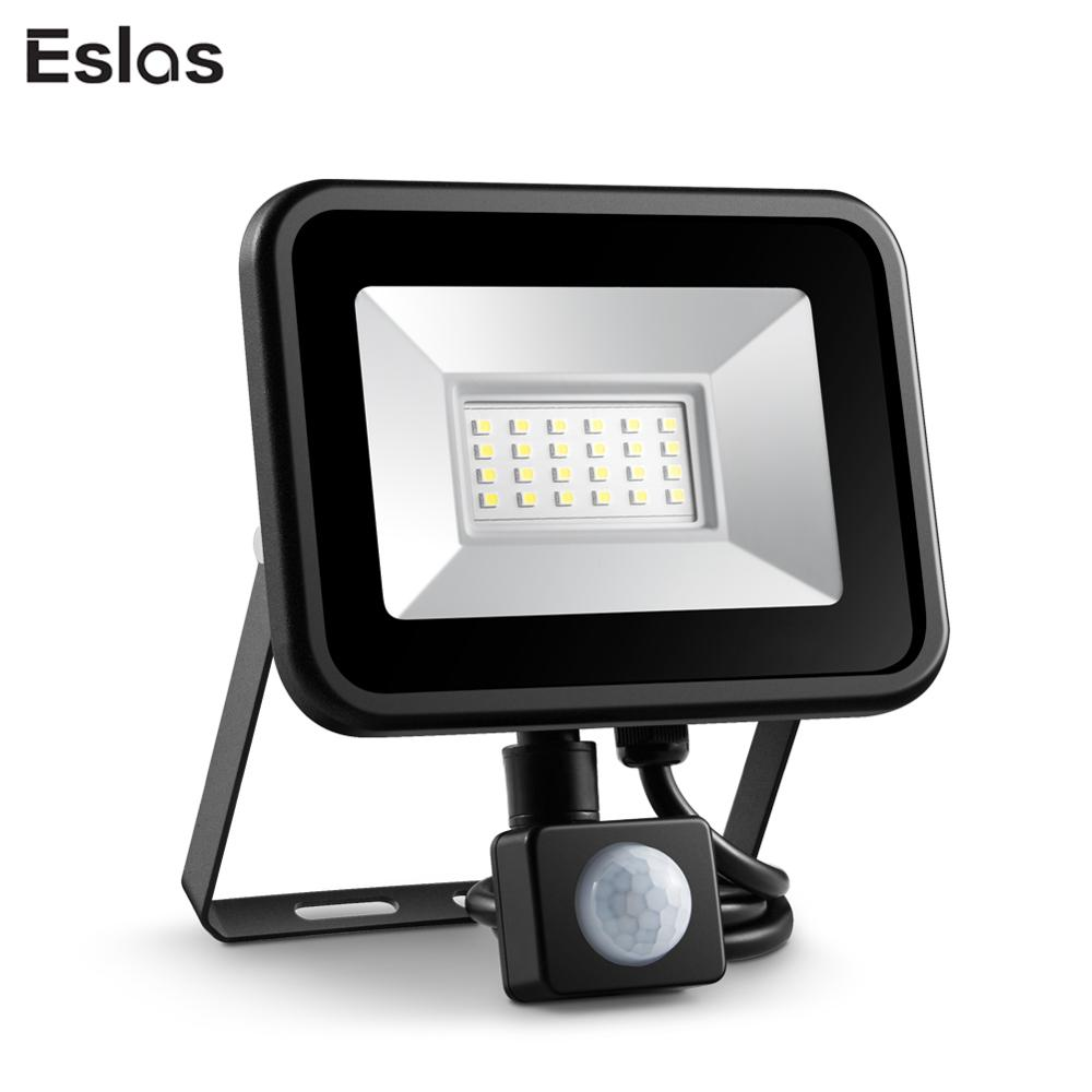Eslas Led Floodlight 10W 20W Outdoor Spotlight With Motion Sensor AC 220V Waterproof IP65 LED PIR Reflector Projector For Garden