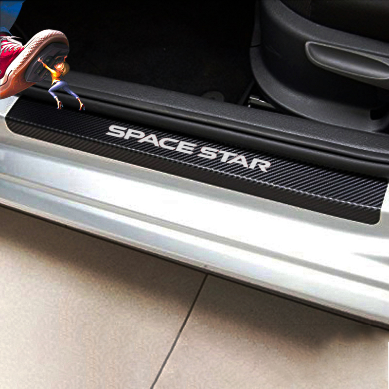 For Mitsubishi Space Star 4pcs Car Door Sill Protector Sticker Carbon Fiber Vinyl Sticker Car Accessories