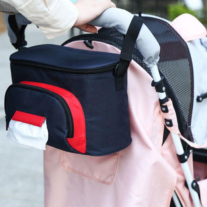 Baby Stroller Nappy Diaper Bag Large Capacity Mummy Bag Hanging Stuff Basket Storage Organizer Bottle Bag Stroller Accessories