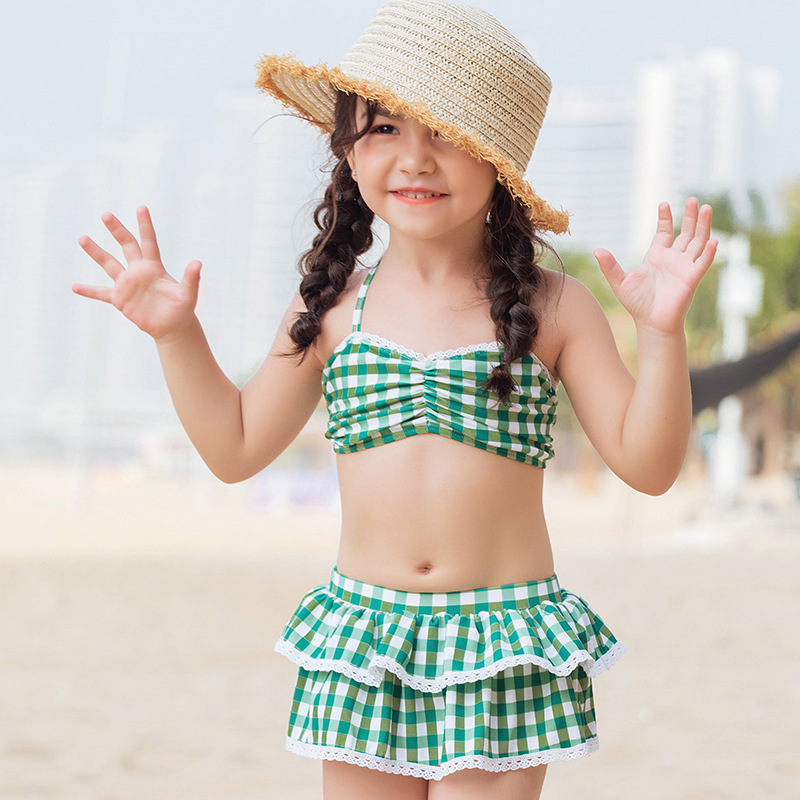 2019 New Style KID'S Swimwear GIRL'S Bikini Split Type Two-Piece Bathing Suit Pleated Short Skirt Play With Water Hot Springs Ba