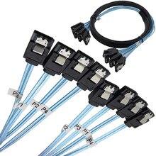 7P Sata Cable 4 Sata To 4 Sata Date Cable 7 Pin Sata Sas Cable 6Gbps Sata 7 Pin To Sata 7 Pin Data Cable Cord For Server Mining