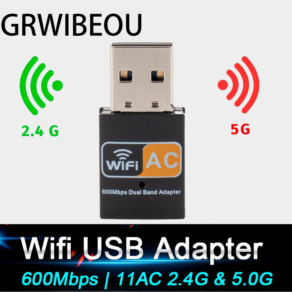 Usb Wifi Adapter Dual Band 600mbps 2.4G 5G HZ Wireless Pc Adapter 802.11ac Wifi Receiver Transmiter Support Windows Mac Os Linux