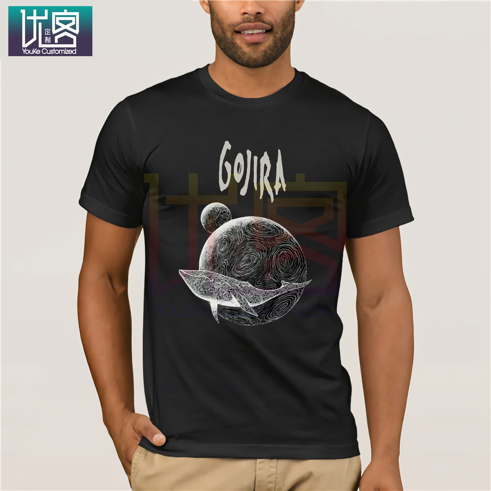Gojira Men's Whale T-Shirt Black Clothes Popular T-Shirt Crewneck 100% Cotton Tees Amazing Short Sleeve Unique Vintage Crew Neck
