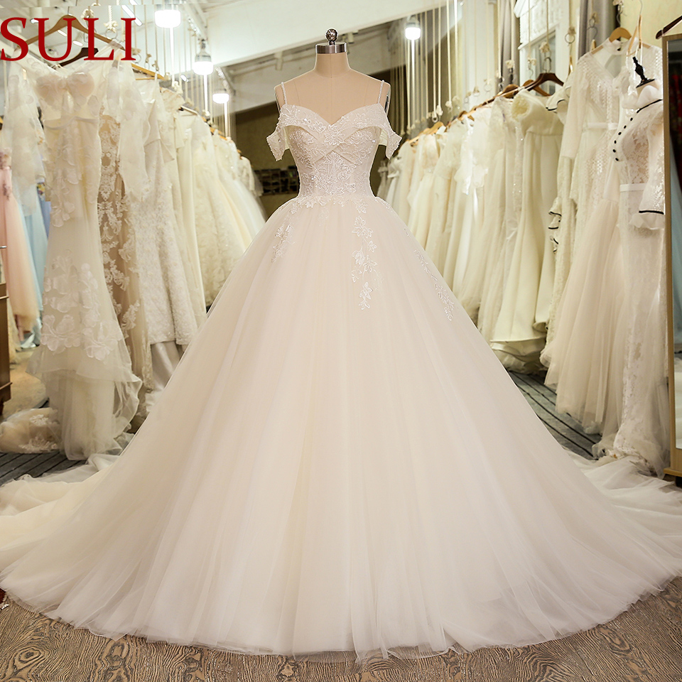 SL-5023 Princess Lace applique Bridal Dress Ball Gown Off Shoulder Wedding Dress 2020(China)