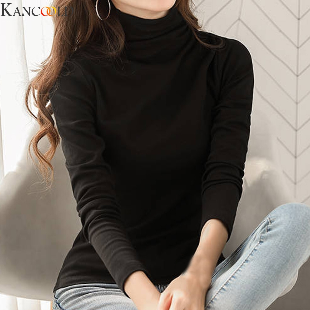 KANCOOLD Hot Sale Women Turtle Neck T Shirts Long Sleeve High Neck Black Kaki Solid Color Warm Top Milk Silk Base Shirt Fashion