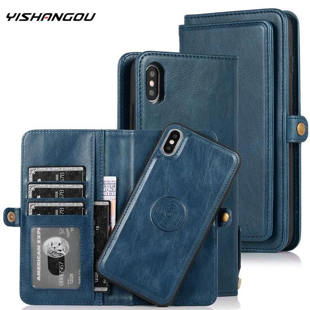 For Samsung A70 A50 A40 A30 A20 Removable Magnetic PU Leather Multi Cards Case Cover For Samsung S10 S9 S8 Plus Note 8 9 10Pro