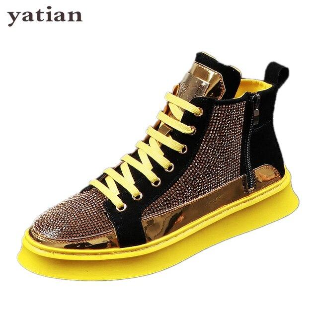 Zapatillas de deporte de alta calidad con purpurina dorada para hombre, zapatos planos con plataforma de cristal azul, plateados ostentosos, AD-38 6